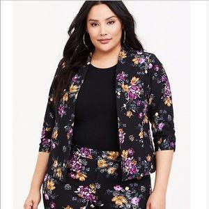 Torrid black floral cutaway blazer